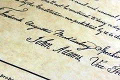 Constituição de John Adams E.U. Fotografia de Stock Royalty Free
