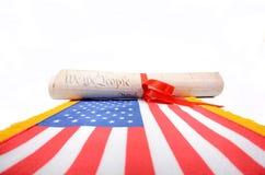 Constituição dos EUA, declaração de independência no fundo branco fotografia de stock royalty free