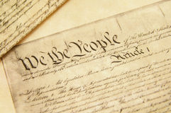 The Constitution. Closeup of a replica of U.S. Constitution document Royalty Free Stock Image