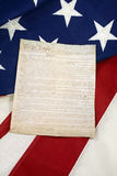 Constitution on American Flag, Vertical Royalty Free Stock Photography