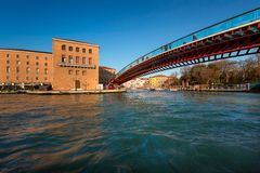 Constitution Bridge and Ferrovia Station in Venice Italy Royalty Free Stock Photo