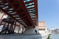 Constitution Bridge in Venice. The Ponte della Costituzione (English: Constitution Bridge) is the fourth bridge over the Grand Canal in Venice, Italy. It was Stock Images