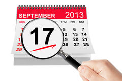 Constitution Day Concept. 17 september 2013 calendar with magnifi Stock Photography