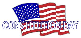 Constitution Day Flag. A Constitution Day stars and stripes flag and text over a white background stock illustration