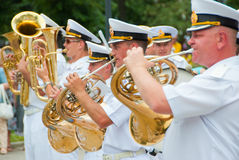 Constitution Day of Ukraine. SUMY - JUNE 28: Military brass band performing at celebration of the Constitution of Ukraine on June 28, 2010 in Sumy, Ukraine Royalty Free Stock Photos