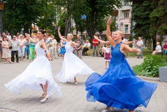 Constitution Day of Ukraine. SUMY - JUNE 28: Women dancers on the town square performing on the Constitution of Ukraine on June 28, 2010 in Sumy, Ukraine Stock Photos