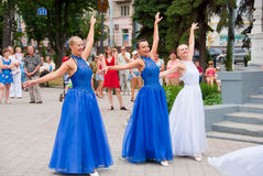 Constitution Day of Ukraine. SUMY - JUNE 28: Women dancers on the town square performing on the Constitution of Ukraine on June 28, 2010 in Sumy, Ukraine Royalty Free Stock Photo