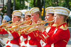 Constitution Day of Ukraine. SUMY - JUNE 28: Female Brass Band  performance at celebration of the Constitution of Ukraine on June 28, 2010 in Sumy, Ukraine Stock Images