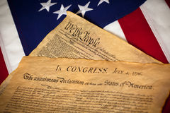 Constitution & Declaration Of Independence On Flag Stock Photography