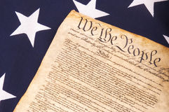 Constitution on Flag. Close up of United States Constitution on Flag Royalty Free Stock Images