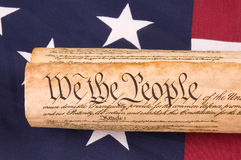 Constitution on Flag Royalty Free Stock Image