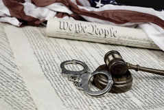 Constitution, Gavel and handcuffs Royalty Free Stock Photo