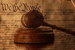 Constitution over a court gavel Royalty Free Stock Photos