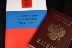 The Constitution and the passport Stock Image