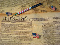 Free Constitution Pen And Flags Royalty Free Stock Photos - 4845378