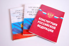 Constitution of the Russian Federation, Criminal Code of the Russian Federation and Code of civil procedure of the Russian Federat Stock Image
