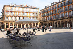 Constitution Square, May 5, 2013 in San Sebastian, Spain. Stock Photo