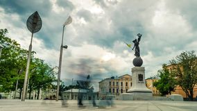 Constitution square with statue Glory to Ukraine in Kharkiv stock video footage