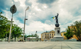 Constitution square with statue `Glory to Ukraine` in Kharkiv Stock Photo