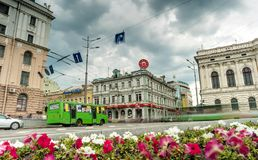 Constitution square with view on Sumskaya street in Kharkiv. Kharkiv, Ukraine - June 06, 2016: Constitution square with view on Sumskaya street and road in Stock Images