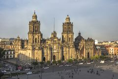 Constitution Square Zocalo view from the dome of the Metropolitan Cathedral. In Mexico City, Mexico. Day of Constitution in Mexico Royalty Free Stock Photos