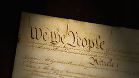Constitution, United States of America. Close-up camera move of the Constitution of the United States of America stock footage