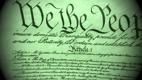 Constitution of United States Historical Document - We The People Bill of Rights. Preamble to the Constitution the United States of America stock footage