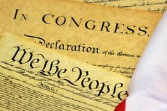Constitution of the United States - We The People. Preamble to the Constitution of the United States and American Flag Royalty Free Stock Photography