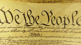 Constitution of United States We The People. Preamble to the Constitution of the United States Bill of Rights stock video footage