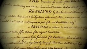 Constitution of United States We The People. Preamble to the Constitution of the United States Bill of Rights stock footage