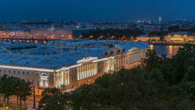 Constitutional Court of Russian Federation timelapse in St.Petersburg, Russia. Constitutional Court of Russian Federation night timelapse in St.Petersburg stock footage
