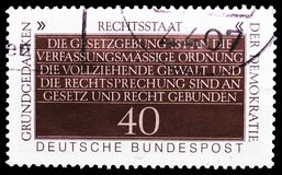 Constitutional Freedom, Fundamental Concepts of Democracy serie, circa 1981. MOSCOW, RUSSIA - FEBRUARY 21, 2019: A stamp printed in Germany, Federal Republic stock photo