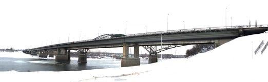 Constrói uma ponte sobre o panorama em UFA de Rússia Fotos de Stock