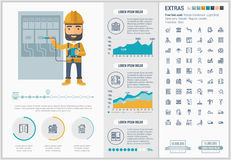 Constraction flat design Infographic Template Royalty Free Stock Photography