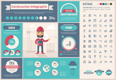 Constraction flat design Infographic Template Stock Photos