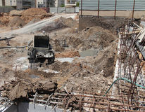 Constraction site. Concrete work Royalty Free Stock Image