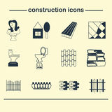 Constraction web icons set. Building and home. Vector illustration Stock Photo
