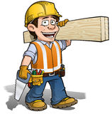 Constraction Worker -- Carpenter. Cartoon illustration of a construction worker Royalty Free Stock Photography