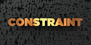 Constraint - Gold text on black background - 3D rendered royalty free stock picture Royalty Free Stock Photos