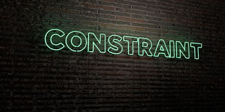 CONSTRAINT -Realistic Neon Sign on Brick Wall background - 3D rendered royalty free stock image Stock Photo