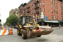Constriction workers repair street in Lower Manhattan Royalty Free Stock Photography