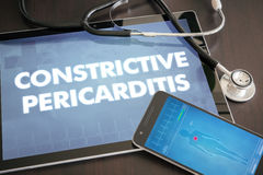 Constrictive pericarditis (heart disorder) diagnosis medical con. Cept on tablet screen with stethoscope royalty free stock image