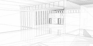 Construção 3D arquitectónica abstrata. Fotos de Stock Royalty Free