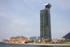 Construção alta da elevação em Mojiko, Kitakyushu, Japão Imagem de Stock Royalty Free
