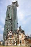 Construção alta da elevação em Mojiko, Kitakyushu, Japão Imagem de Stock