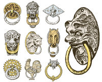 Construção antiga do detalhe elementos decorativos arquitetónicos, botão de porta de madeira, aldrava ou punhos leão e cavalo ilustração do vetor