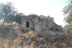 Construção antiga, fortaleza de Qaqun, Israel Fotografia de Stock