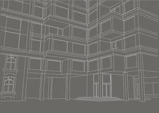 Construção arquitetónica do esboço com os balcões no fundo cinzento Foto de Stock