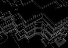 Construção arquitetónica do esboço no fundo preto Imagens de Stock