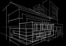 Construção arquitetónica do sumário do conceito do esboço no fundo preto Imagem de Stock Royalty Free